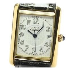 Must Tank Quartz Menand039s Sv925 Leather Belt White Dial From Japan [e0513]