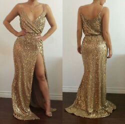 Long Dress Gold Sparkly Stretchy Sequins Fabric With Slit Women Evening Gowns $25.99