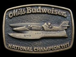 Rk09154 1977 Miss Budweiser National Champion Speed Boat Solid Brass Buckle