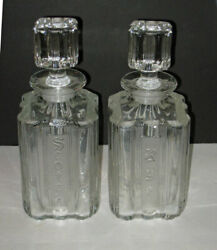 Pair Antique Fostoria Sunray Crystal Decanters  Scotch And Rye