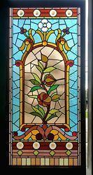 Large Antique Aesthetic Stained Glass Window 32 X 68
