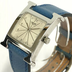 Wristwatch Hermes H Watch Hh1.210 Womenand039s Used Silver Blue Arabic Numerals