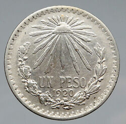 1920 Mexico Eagle Liberty Cap Large Vintage Old Silver Peso Mexican Coin I91453