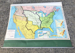 Rand Mcnally And Co Early Westward Expansion Vintage Pull Down School Wall Map