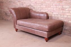 Baker Furniture French Regency Brown Leather Chaise Lounge