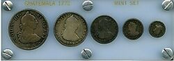 1772-gp Guatemala Carlos Iii Bust Style 5 Coin Set 1/2 1 2 4 And 8 Reales