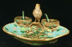 Antique English Majolica George Jones Strawberry Dish And 2 Ladles - Finch And Nests