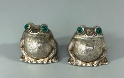 Modernist Silver Frog Salt And Pepper Pots Period Jewellery C2000 Ahzx