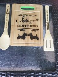 Scottish Terrier Engraved Wooden Bamboo Cutting Board and 2 Engraved Utensils