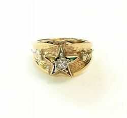 10k Yellow Gold Ring With Diamonds, Eastern Star Sorority Ring  Size 6