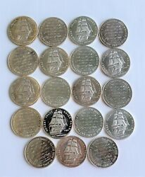 18 X Vintage Uss Constitution 1oz .999 Silver Rounds 1984 Reseller Oppertunity