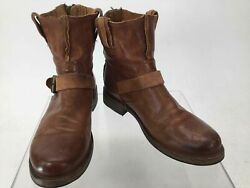 Frye Saddle Brown Leather Buckle Ankle Boots 8.5B $40.00
