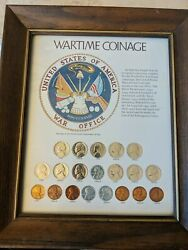 Wartime Coinage - Framed Set 20 United States Coins Copper And Silver Set Silver