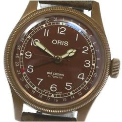 Oris Big Crown 7741-31 Automatic Men's Brown Dial Ss Leather From Japan [e0514]