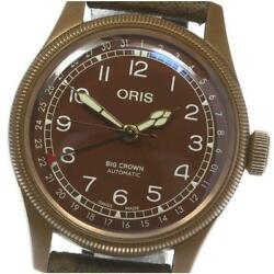 Oris Big Crown 7741-31 Automatic Menand039s Brown Dial Ss Leather From Japan [e0514]