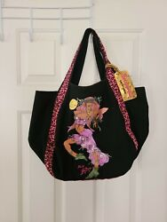 BETSEYVILLE Betsy Johnson Tote Hobo Bag XOXO Black Pink Leopard Love Fairy Woman $24.95