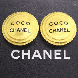 Coco Logos Circle Earrings Gold Clip-on 95 P France Vintage Auth Xx228 O