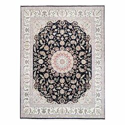 8'x10' 250 Kpsi Nain Navy Blue Wool And Silk Hand Knotted Oriental Rug G62803