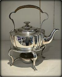 Antique Silver Plated Spirit Kettle With Burner On Stand
