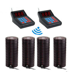 Restaurant Wireless Paging System 2transmitter+40coaster Pager Clinic Cafe Bar