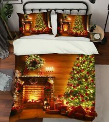 3d Fireplace Tree Nao9378 Bed Pillowcases Quilt Duvet Cover Set Queen King Fay