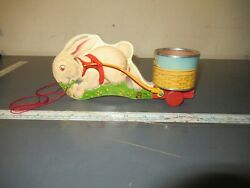 Vintage Early Fisher Price Toys Easter Bunny Tin Basket Cart Wood Pull Toy No 5