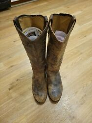 Frye Melissa Boots Women Size 8.5 Brown Distressed Leather Tall Knee High Riding $49.99