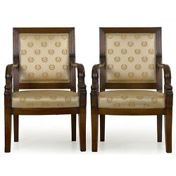 French Pair Of Louis Phillipe Carved Mahogany Antique Arm Chairs Circa 1840