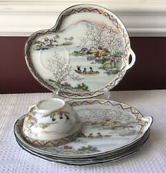5-piece Japanese Hand Painted Teacup And Plates, Figures In A Boat Scene
