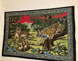 Vintage Tapestry Wall Hanging Tiger Cubs Jungle Large 57quot; X 39quot; Made in Turkey