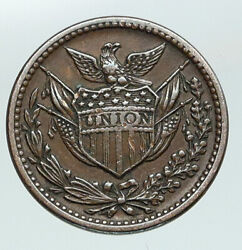 1863 United States Civil War Patriotic Liberty Token Army Navy Cent Coin I91421