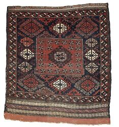 Handmade Antique Afghan Balucch Rug 2.7and039 X 2.10and039 82cm X 89cm 1880s 1b326