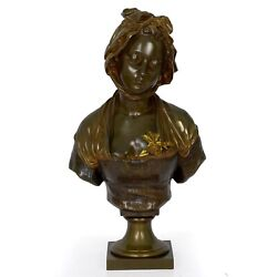 Bust Of A Young Girl French Bronze Sculpture After Eugene Laurent And Susse