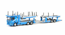 For Scania P6 Flat Roof 6x2 Twin Steer Car Transporter Trailer 1/50 Model Truck