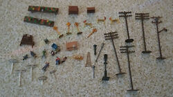 Vintage Lot Of Ho Scale Model Railroad People Poles Tools Benches Misc