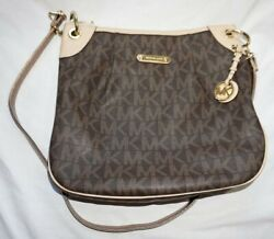 Women#x27;s Large Tan amp; Brown MICHAEL KORS MK Logo Crossbody Purse Bag $29.99