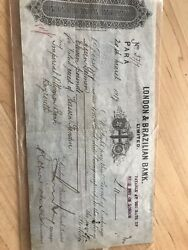 1919 Check W/stamp From The London Brazillian Bank During The Ottoman Empire