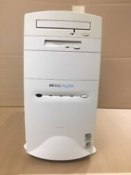 Vintage Hp Computer Pavilion 7360 Pc Tower W/ Crt Monitor + Speakers Clean