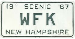 1967 New Hampshire Vanity License Plate Wfk 3 Character Plate