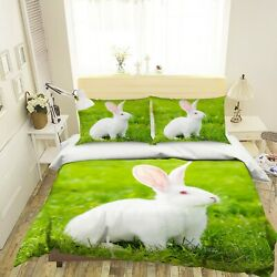 3d Lawn Rabbit O604 Animal Bed Pillowcases Quilt Duvet Cover Set Queen King Fay