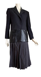 Claude Montana Leather Gray Jacket With Light Lines Wool Skirt Suit Unworn New