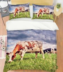 3d Lawn Cow O625 Animal Bed Pillowcases Quilt Duvet Cover Set Queen King Fay