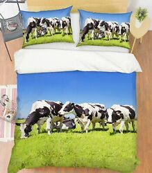 3d Lawn Cow O634 Animal Bed Pillowcases Quilt Duvet Cover Set Queen King Fay
