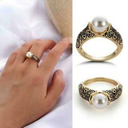 Dainty Pearl Rings Women Vintage Ring Sculpted Antique Rings Gold Wedding V0l0