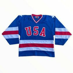 Vintage 1980 K1 Sportswear Mens Blue Red White Olympic Usa Hockey Jersey Small