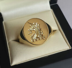 Silver Or Gold Signet Ring With Hand Engraved Monogram Crest Or Coat Of Arms