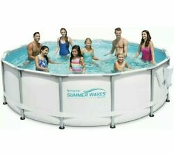 Summer Waves 14and039 X 42 Elite Frame Round Pool Set W Filter Pump Ladder And Cover