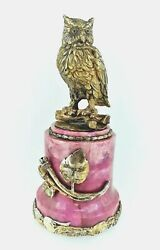 Antique Russian Silver Gilt And Rhodonite Owl Paperweight .
