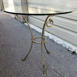 Maison Jansen Deer Hove Table, Stainless Steel And Brass Queridon Table