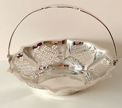 Solid Silver Pierced Swing Handle Basket Sheffield Cooper Brothers And Sons 1922